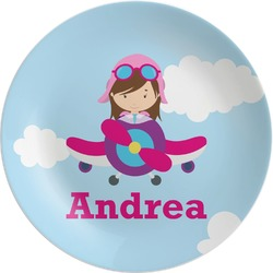 Airplane & Girl Pilot Melamine Plate (Personalized)