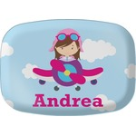 Airplane & Girl Pilot Melamine Platter (Personalized)