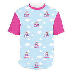 Airplane & Girl Pilot Men's Crew T-Shirt (Personalized)
