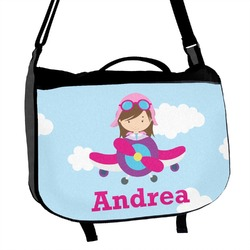 Airplane & Girl Pilot Messenger Bag (Personalized)
