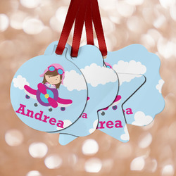 Airplane & Girl Pilot Metal Ornaments - Double Sided w/ Name or Text