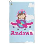 Airplane & Girl Pilot Microfiber Golf Towel - Large (Personalized)
