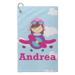 Airplane & Girl Pilot Microfiber Golf Towel - Small (Personalized)