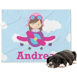 Airplane & Girl Pilot Dog Blanket (Personalized)