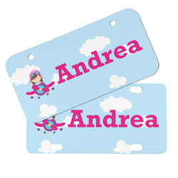 Airplane & Girl Pilot Mini/Bicycle License Plates (Personalized)