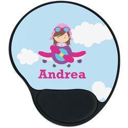 Airplane & Girl Pilot Mouse Pad with Wrist Support