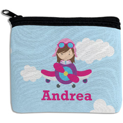 Airplane & Girl Pilot Rectangular Coin Purse (Personalized)