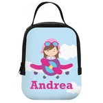 Airplane & Girl Pilot Neoprene Lunch Tote (Personalized)