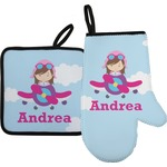 Airplane & Girl Pilot Oven Mitt & Pot Holder (Personalized)