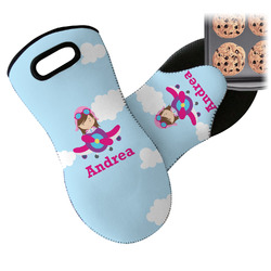 Airplane & Girl Pilot Neoprene Oven Mitt (Personalized)