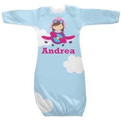 Airplane & Girl Pilot Newborn Gown - 3-6 (Personalized)