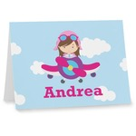 Airplane & Girl Pilot Note cards (Personalized)
