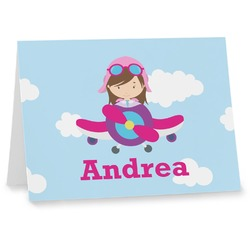 Airplane & Girl Pilot Notecards (Personalized)