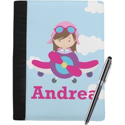 Airplane & Girl Pilot Notebook Padfolio (Personalized)