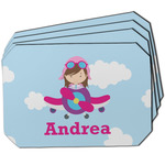 Airplane & Girl Pilot Dining Table Mat - Octagon w/ Name or Text