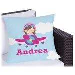 Airplane & Girl Pilot Outdoor Pillow (Personalized)
