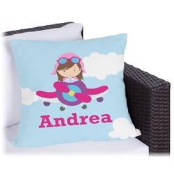 """Airplane & Girl Pilot Outdoor Pillow - 26"""" (Personalized)"""