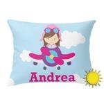 Airplane & Girl Pilot Outdoor Throw Pillow (Rectangular) (Personalized)