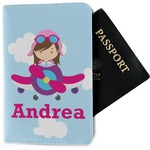 Airplane & Girl Pilot Passport Holder - Fabric (Personalized)