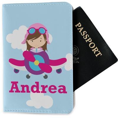 Airplane & Girl Pilot Passport Holder - Fabric (Personalized)