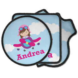 Airplane & Girl Pilot Iron on Patches (Personalized)