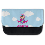 Airplane & Girl Pilot Canvas Pencil Case w/ Name or Text