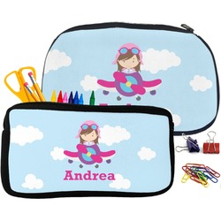 Airplane & Girl Pilot Pencil / School Supplies Bag (Personalized)