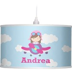 Airplane & Girl Pilot Drum Pendant Lamp (Personalized)
