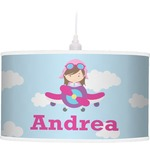 Airplane & Girl Pilot Pendant Lamp (Personalized)