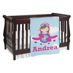 Airplane & Girl Pilot Baby Blanket (Personalized)
