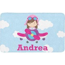 Airplane & Girl Pilot Bath Mat (Personalized)