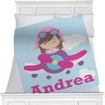Airplane & Girl Pilot Blanket (Personalized)