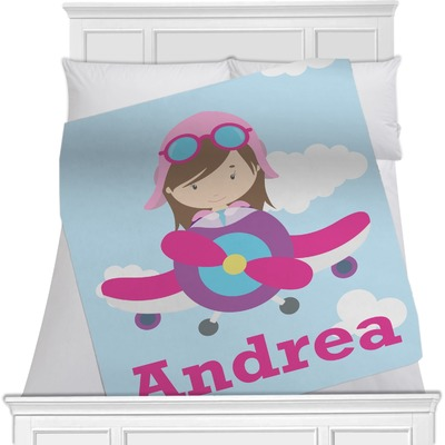 Airplane & Girl Pilot Minky Blanket (Personalized)