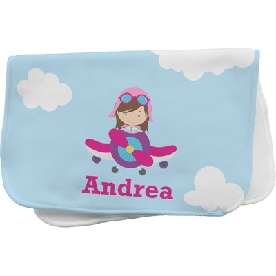 Airplane & Girl Pilot Burp Cloth (Personalized)