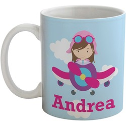 Airplane & Girl Pilot Coffee Mug (Personalized)