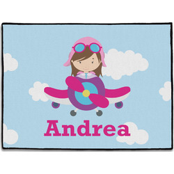 Airplane & Girl Pilot Door Mat (Personalized)
