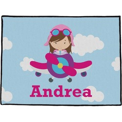 Airplane & Girl Pilot Door Mat (Personalized)