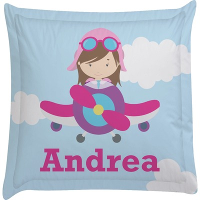 Airplane & Girl Pilot Euro Sham Pillow Case (Personalized)