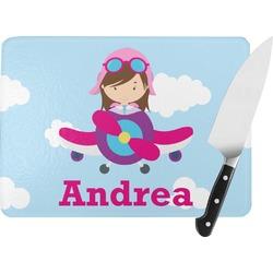 Airplane & Girl Pilot Rectangular Glass Cutting Board (Personalized)