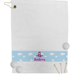 Airplane & Girl Pilot Golf Towel (Personalized)