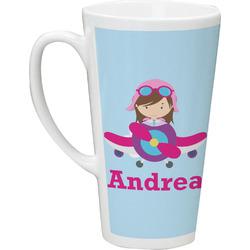 Airplane & Girl Pilot 16 Oz Latte Mug (Personalized)