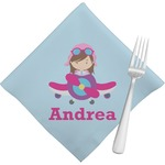 Airplane & Girl Pilot Napkins (Set of 4) (Personalized)