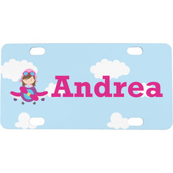 Airplane & Girl Pilot Mini / Bicycle License Plate (Personalized)