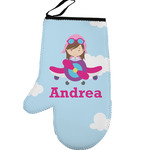 Airplane & Girl Pilot Left Oven Mitt (Personalized)