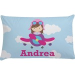 Airplane & Girl Pilot Pillow Case - Standard (Personalized)