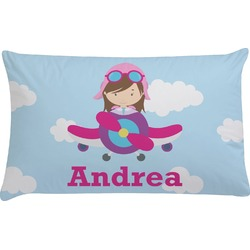 Airplane & Girl Pilot Pillow Case (Personalized)