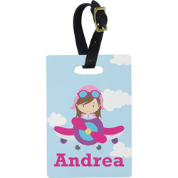 Airplane & Girl Pilot Rectangular Luggage Tag (Personalized)