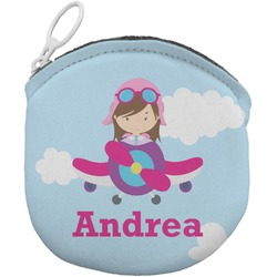 Airplane & Girl Pilot Round Coin Purse (Personalized)