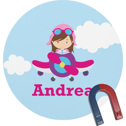 Airplane & Girl Pilot Round Fridge Magnet (Personalized)