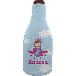 Airplane & Girl Pilot Wine Sleeve (Personalized)